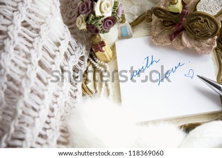 with love note in romance style