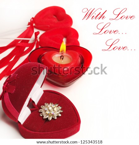 With love! Valentines Day. Gift, burning candle and two hearts. Your text.