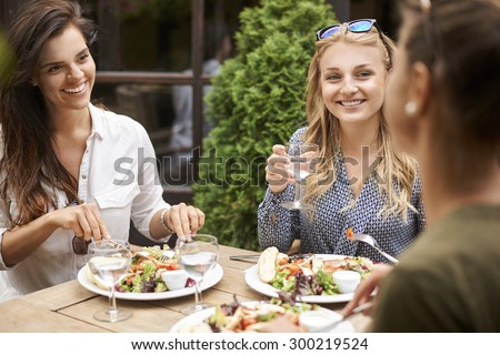 With my friends lunch taste better - stock photo