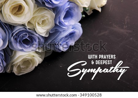 With Prayers & Deepest Sympathy. A sympathetic letter design for someone in despair - stock photo