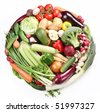 With vegetables in a circle. Isolated on white background - stock photo