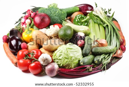 With vegetables in a oval. Isolated on white background