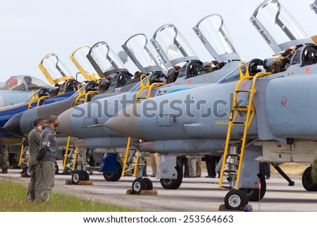 WITTMUND, GERMANY- JUNE 29: German F-4 Phantom after their last flight on June 29, 2013 at Wittmund , Germany. The Phantoms were replaced by the new Eurofighters seen in the back.