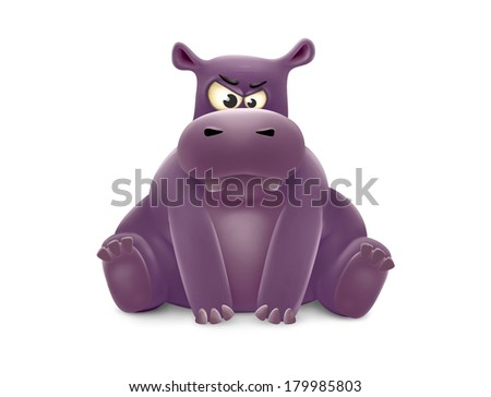 witue hippo sad and angry isolated. witue = little in slang