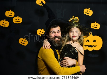 Wizard and little witch in black hats hug. Father and daughter in Halloween costumes.  sc 1 st  Shutterstock & Wizard Little Witch Black Hats Hug Stock Photo (Royalty Free ...