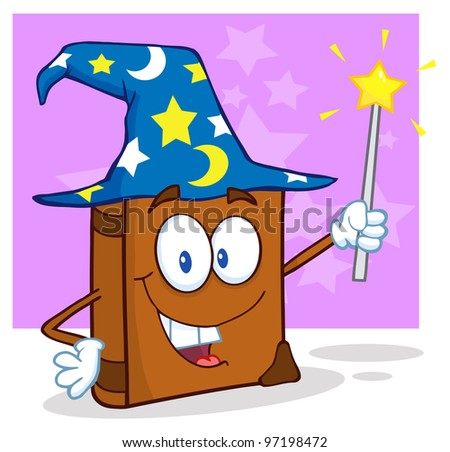Wizard Book Cartoon Character Holding A Magic Wand. Raster Illustration.Vector version also available in portfolio. - stock photo