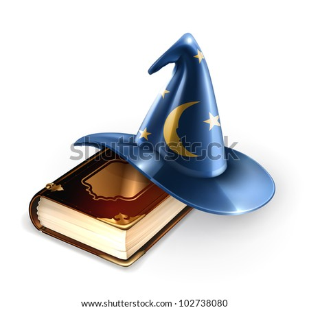 Wizard hat and old book, bitmap copy - stock photo