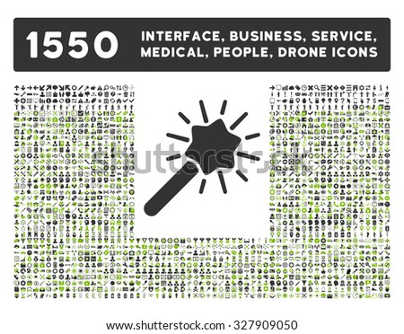 Wizard icon and other web interface, business, tools, people, medical service and awards glyph symbols. Style is bicolor flat symbols, eco green and gray colors, rounded angles, white background. - stock photo