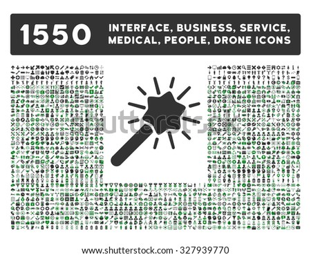 Wizard icon and other web interface, business, tools, people, medical service and awards glyph symbols. Style is bicolor flat symbols, green and gray colors, rounded angles, white background. - stock photo