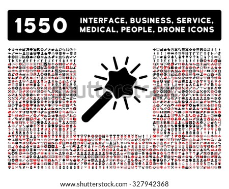 Wizard icon and other web interface, business, tools, people, medical service and awards glyph symbols. Style is bicolor flat symbols, intensive red and black colors, rounded angles, white background. - stock photo