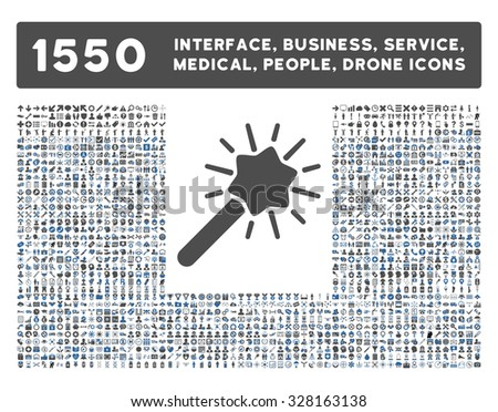 Wizard icon and other web interface, business, tools, people, medical service and awards glyph symbols. Style is bicolor flat symbols, cobalt and gray colors, rounded angles, white background. - stock photo
