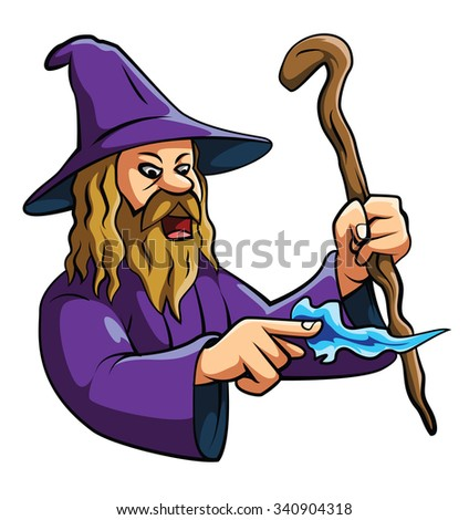 Wizard Illustration on White - stock photo