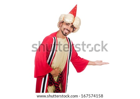 Wizard in costume isolated on the white - stock photo
