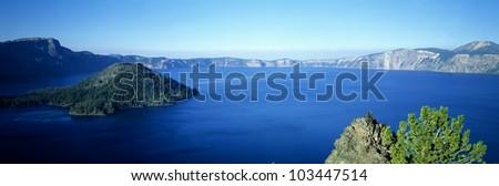 Wizard Island at Crater Lake, Oregon - stock photo