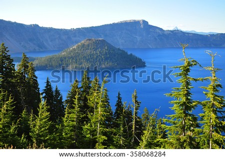 Wizard Island, Crater Lake, Oregon, U.S.A.  - stock photo