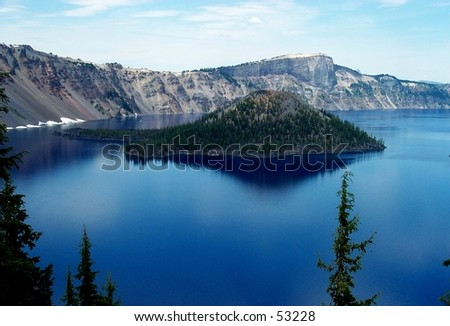 Wizard Island in Crater Lake National Park - stock photo