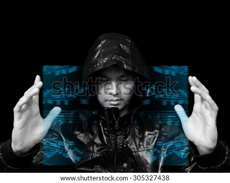 wizard of magic musical technology & colorful floating music note in the imagination , isolated on black. composer / producer / arranger / production / school concept - stock photo
