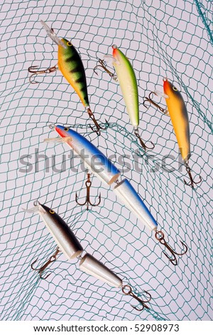 Wobblers for fishing a predatory fish. - stock photo