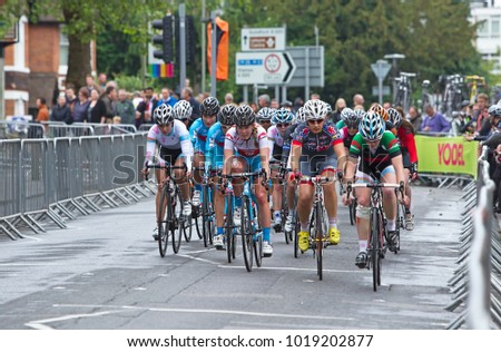 WOKING, UK - JUNE 11: Hannah Barnes of the MG Maxi Fuel team starts at the centre of the front row for the Pearl Izumi Halfords road race on June 11, 2013 in Woking.