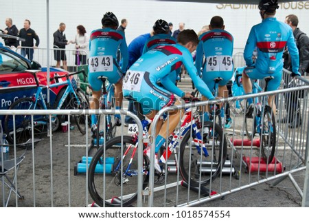 WOKING, UK - JUNE 11: Unnamed members of one of the cycling teams competing for the UK National Pearl Izumi road racing championship warm up before the race on June 11, 2013 in Woking