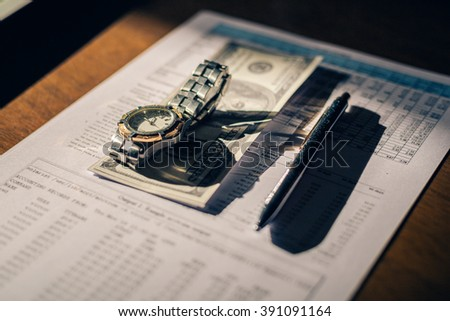 Wokspace on wood table, still life businessman, still life accountant.