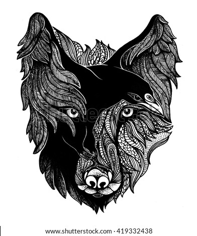 Wolf and raven art illustration.  - stock photo