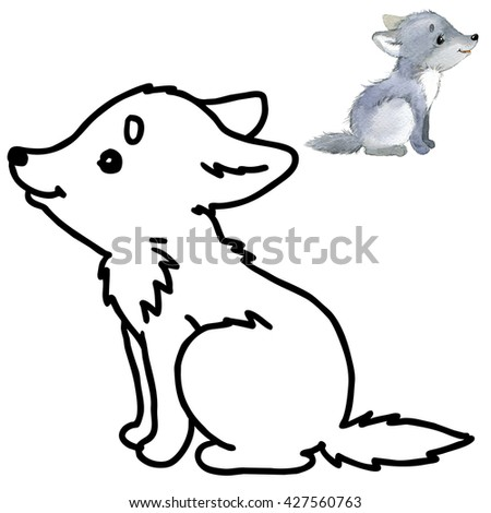 wolf coloring book cartoon animal illustration - Wolf Coloring Book