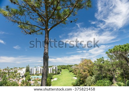 WOLF VALLEY, ALGARVE, PORTUGAL, MAY 2, 2014: Houses and buildings in Wolf Valley (Vale do Lobo), Algarve, Portugal - stock photo