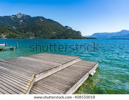 Wolfgangsee lake from St.Gilgen see Schafberg mountain in summer, Austria - stock photo