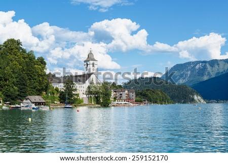 Wolfgangsee lake , St. Wolfgang near Salzburg Austria - stock photo