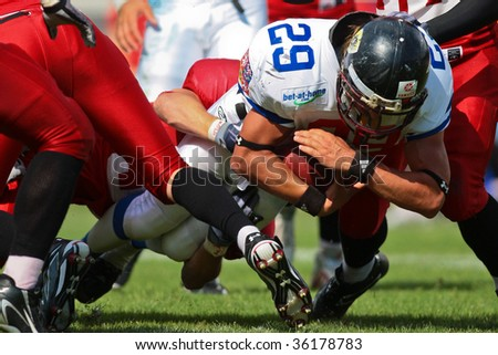 WOLFSBERG, AUSTRIA - AUGUST 18 American Football B-EC: RB Ondrej Visek (#29, Czech) and his team beat Denmark 30:15 on August 18, 2009 in Wolfsberg, Austria.