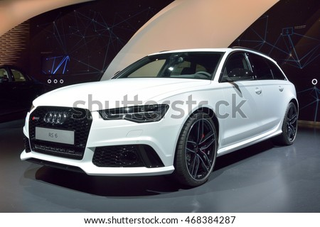 WOLFSBURG, GERMANY - APRIL 15, 2016. Audi RS6 car on display at Audi showroom in Autostadt theme park in Wolfsburg.