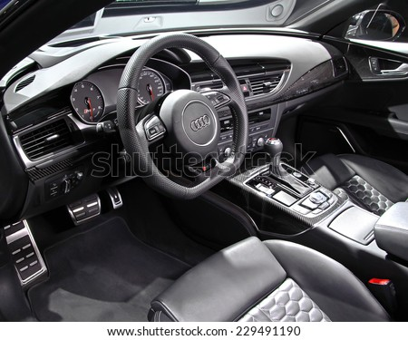 WOLFSBURG, GERMANY - AUGUST 14, 2014: Interior of the german car Audi RS7 at the museum of the Volkswagen Autostadt. - stock photo