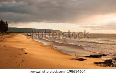 Wollongong seascape Coastline at sunrise - stock photo