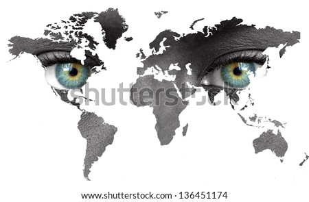Wolrd map with human eyes isolated on white - stock photo