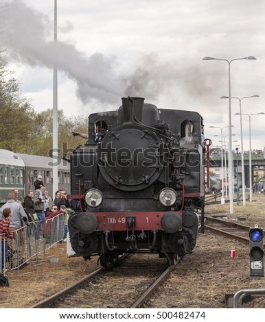 WOLSZTYN, POLAND - MAY 4, 2016:Parade of steam locomotives in Wolsztyn. The annual event, which takes place in the old depot and at the railway station.