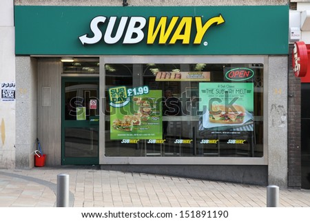 WOLVERHAMPTON, UK - MARCH 10: Subway diner on March 10, 2010 in Wolverhampton, UK. With 32,000 restaurants as of 2010, it is the largest single-brand restaurant chain in the world. - stock photo
