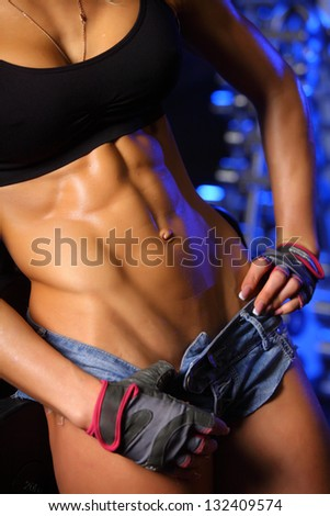 woman abs - stock photo