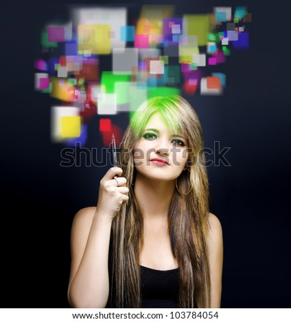 Woman accessing digital information on the internet with a holographic touch screen in a depiction of future online marketing and business advertising - stock photo