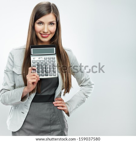 Woman accountant show calculator. Young business woman. White background isolated.