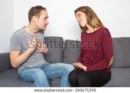Woman accuses a boyfriend - stock photo