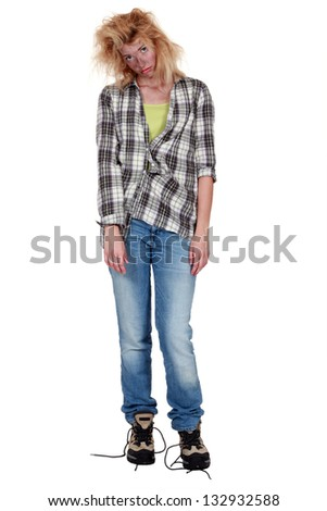 woman after an electric shock - stock photo