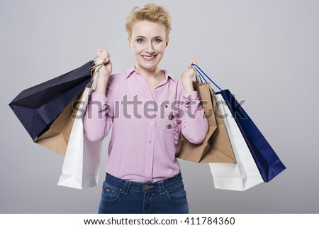 Woman after really big shopping