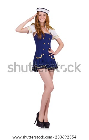 Woman air hostess isolated on the white - stock photo