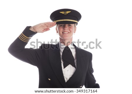 Woman airline officer in uniform saluting