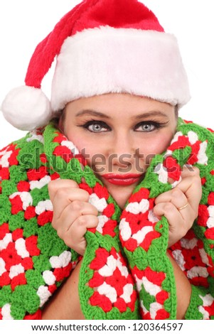 Woman all warm with a handmade blanket