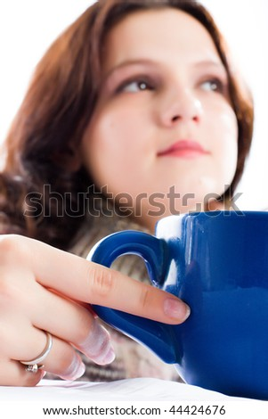 woman and a blue mug