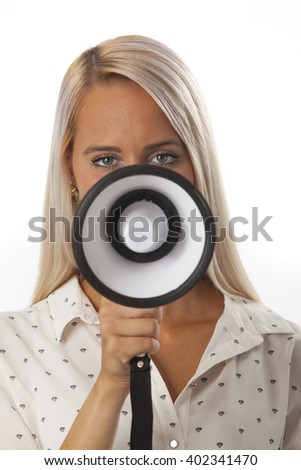 woman and a megaphone on white