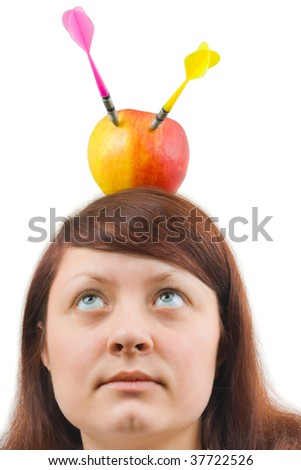 Woman and apple with arrows isolated on white background - stock photo