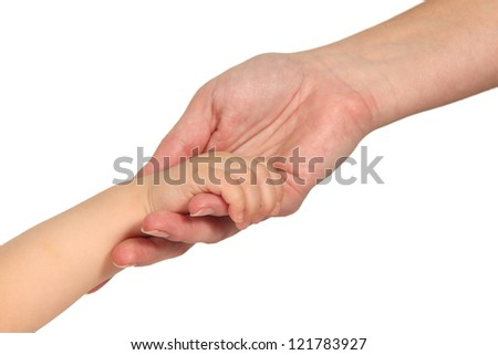 Woman and baby hands in a white isolated background